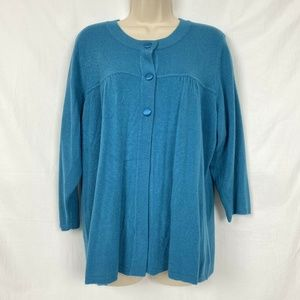 Avenue Cardigan Sweater 18 20 Teal Blue Flyaway